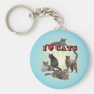I love Cats Basic Round Button Keychain
