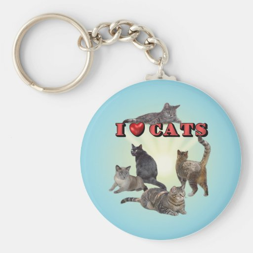 I love Cats Basic Round Button Keychain
