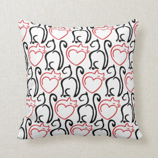 I Love Cats! - Black and Red Outlines on White Throw Pillow