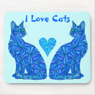 I Love Cats Blue Abstract Sitting Cat Mouse Pad