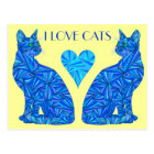 I Love Cats Blue Abstract Sitting Cat Postcard