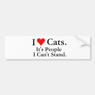 I Love Cats Car Bumper Sticker