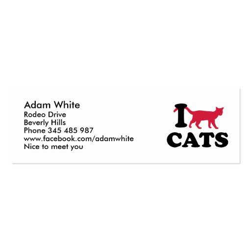 I love cats business cards