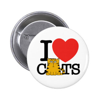 I Love Cats Pinback Buttons