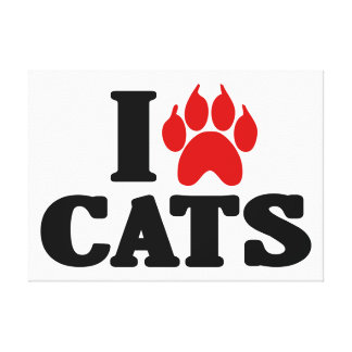 I Love Cats Stretched Canvas Print