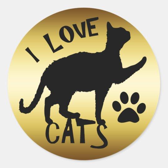 I LOVE CATS CLASSIC ROUND STICKER