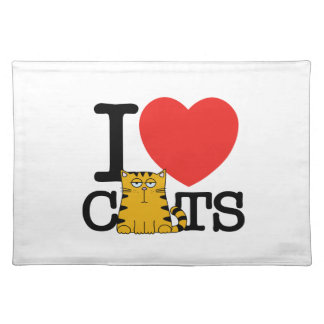 I Love Cats Cloth Placemat