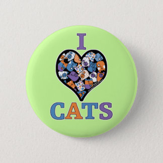 I Love Cats - Collage Heart Pinback Button