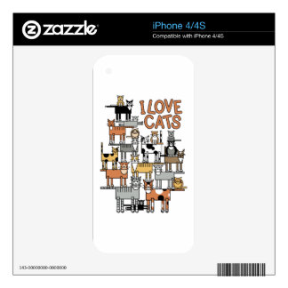 I LOVE CATS DECAL FOR THE iPhone 4S
