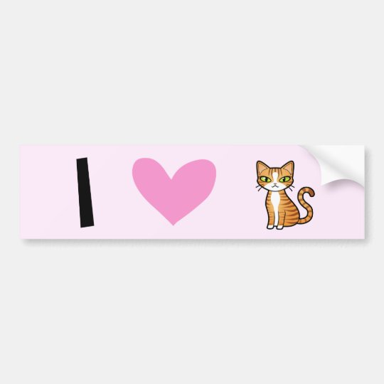I Love Cats (design your own cartoon cat) Bumper Sticker