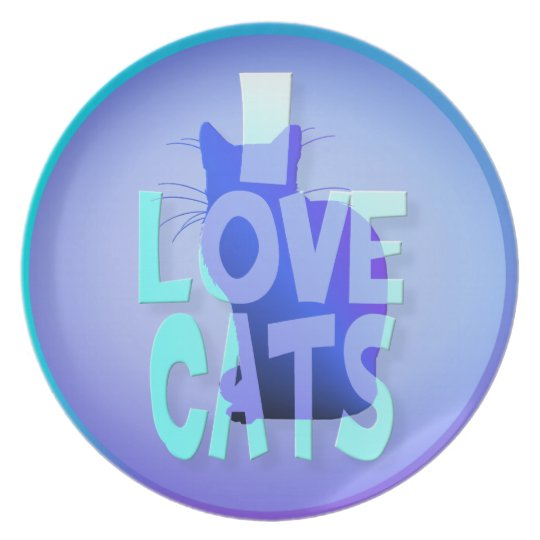 I LOVE CATS DINNER PLATE