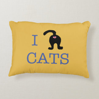 I love Cats Heart Accent Pillow Humor