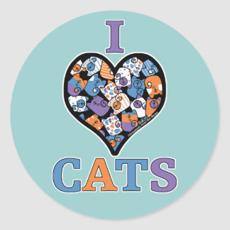 I Love Cats heart collage Stickers