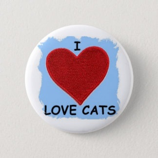 I LOVE CATS ......HEART PATCH PINBACK BUTTON