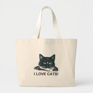 I LOVE CATS! LARGE TOTE BAG