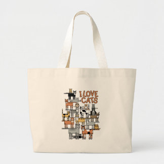 I LOVE CATS LARGE TOTE BAG