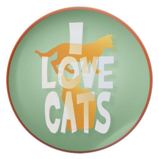 I LOVE CATS MELAMINE PLATE