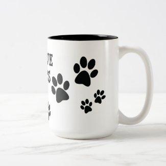 I Love Cats Pawprints Design Coffee Mug