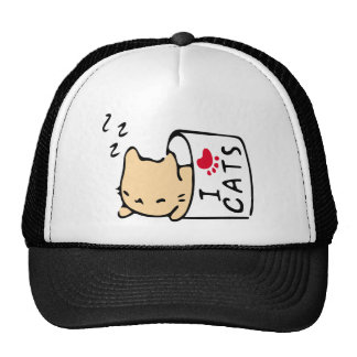 I love cats picture trucker hat