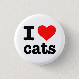 """""""I LOVE CATS"""" PINBACK BUTTON"""