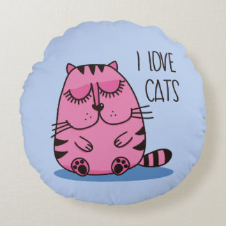 I Love Cats Pink Round Pillow