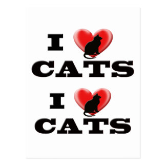 I Love Cats Post Cards
