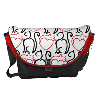 I Love Cats! (Red+Black Outlines) Personalized MB Courier Bag