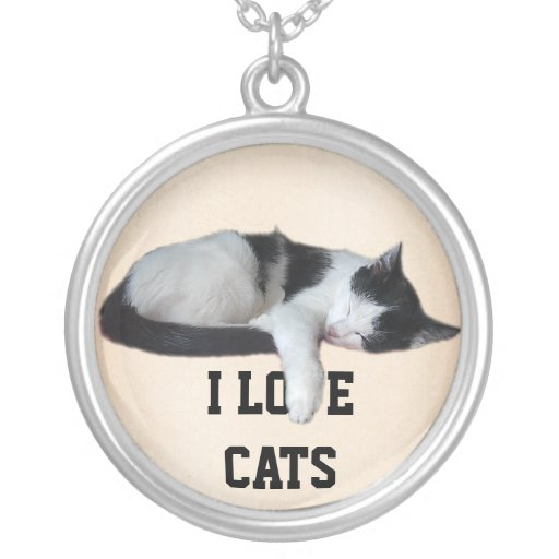 I love Cats Round Pendant Necklace
