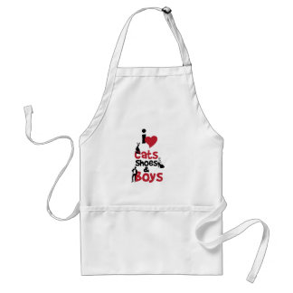 I love cats, shoes and boys adult apron