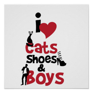 I love cats, shoes and boys poster