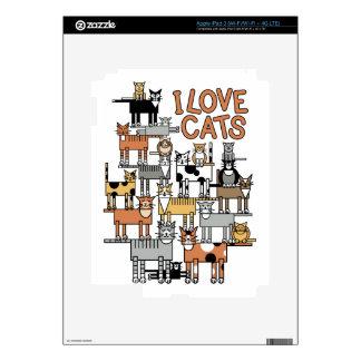 I LOVE CATS iPad 3 SKINS