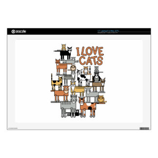 "I LOVE CATS DECAL FOR 17"" LAPTOP"