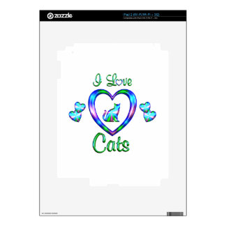 I Love Cats Decal For iPad 2