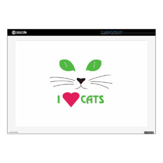 """I Love Cats Skin For 17"""" Laptop"""