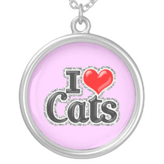 I LOVE Cats Sterling silver Necklace Jewelry