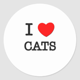 I Love Cats Round Stickers