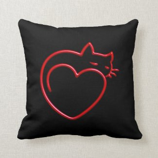 I Love Cats! (Stylized Red Outline on Black) SQP Pillows