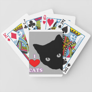 I LOVE CATS TSHIRT Happy Fun Text  & Red Heart Bicycle Playing Cards