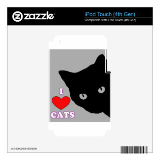 I LOVE CATS TSHIRT Happy Fun Text  & Red Heart Decal For iPod Touch 4G