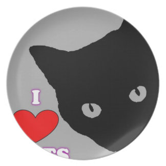 I LOVE CATS TSHIRT Happy Fun Text  & Red Heart Dinner Plate