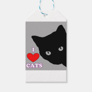 I LOVE CATS TSHIRT Happy Fun Text  & Red Heart Gift Tags