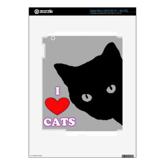 I LOVE CATS TSHIRT Happy Fun Text  & Red Heart iPad 3 Skin