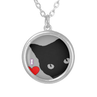 I LOVE CATS TSHIRT Happy Fun Text  & Red Heart Silver Plated Necklace