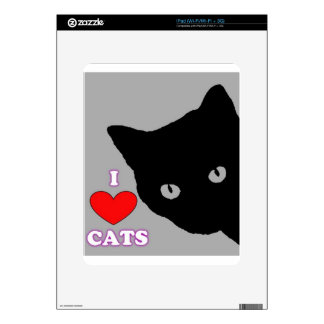 I LOVE CATS TSHIRT Happy Fun Text  & Red Heart Skins For iPad
