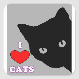 I LOVE CATS TSHIRT Happy Fun Text  & Red Heart Square Sticker