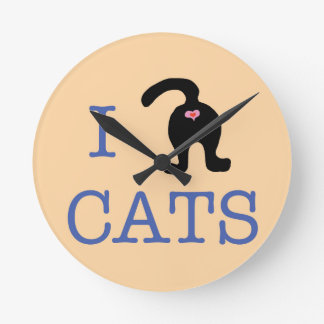 I Love Cats Wall Clock Butt Cute Humor