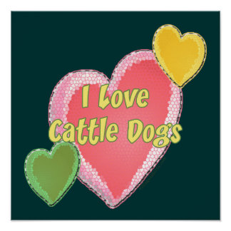 I Love Cattle Dogs Dog Heart Poster