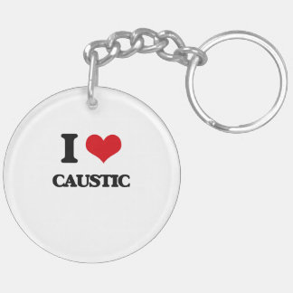 I love Caustic Double-Sided Round Acrylic Keychain