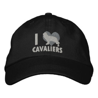 I Love Cavaliers Embroidered Hat (Monochrome)