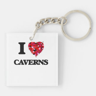 I love Caverns Double-Sided Square Acrylic Keychain